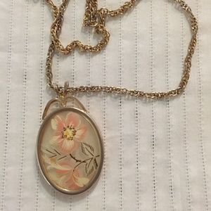 Vintage flower cameo pendant on gold-tone necklace